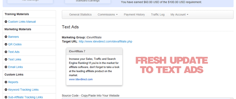 New textads for iDevAffiliate 7